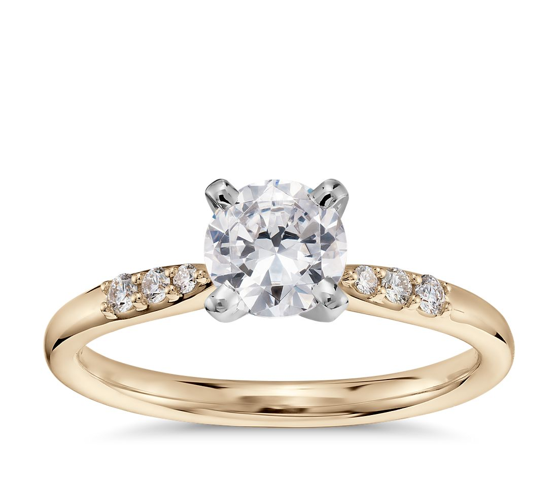 3/4 Carat Preset Petite Diamond Engagement Ring in 14k Yellow Gold