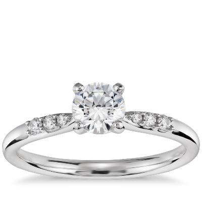 12 Carat Preset Petite Diamond Engagement Ring in 14k White Gold