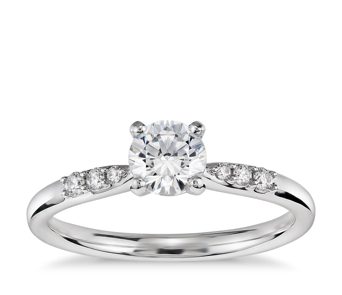2 Carat Preset Petite Diamond Engagement Ring In 14k White Gold