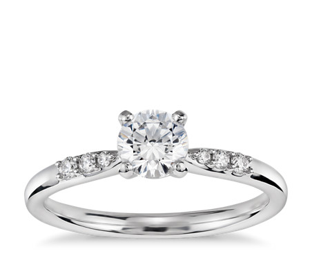 1/2 Carat Preset Petite Diamond Engagement Ring in 14k White Gold