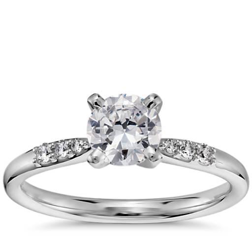 Engagement Ring Selection Guide: 3/4 Carat Preset Petite Diamond Engagement Ring In 14k