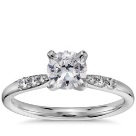 3/4 Carat Preset Petite Diamond Engagement Ring in 14k White Gold