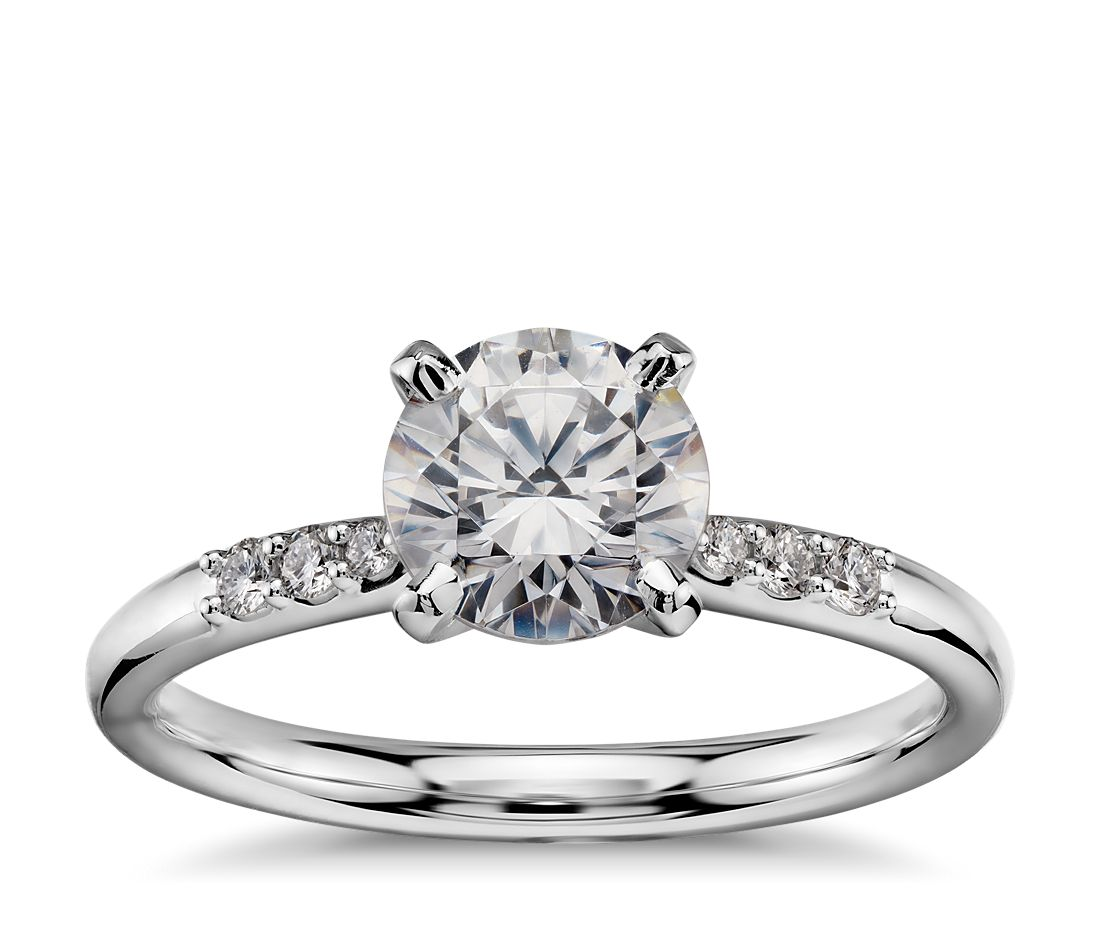 1 Carat Preset Petite Diamond Engagement Ring in 14k White Gold