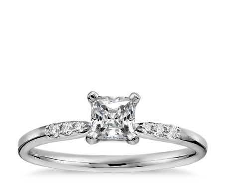 1/3 Carat Preset Princess-Cut Petite Diamond Engagement Ring in 14k White Gold