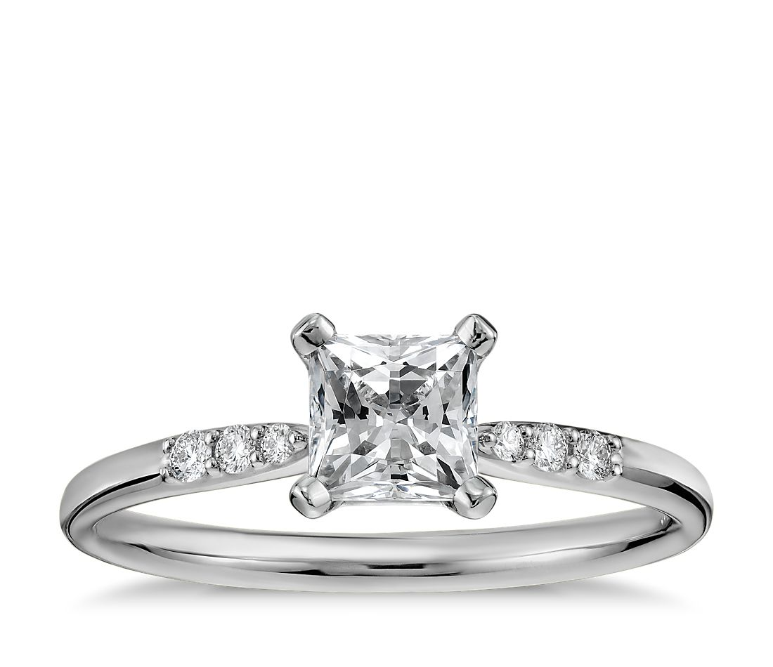 12 carat preset princess cut petite diamond engagement ring in 14k white gold - Princess Cut Diamond Wedding Rings