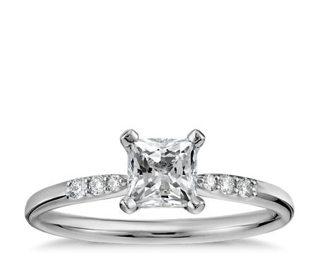 1/2 克拉 14k 白金預鑲公主方形切割小巧鑽石訂婚戒指