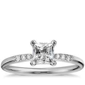 1/2 Carat Preset Princess-Cut Petite Diamond Engagement Ring in 14k White Gold