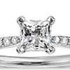 1/2 Carat Preset Princess-Cut Petite Diamond Engagement Ring in 14k White Gold