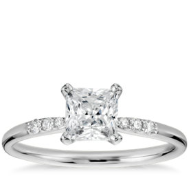 3/4 Carat Preset Princess-Cut Petite Diamond Engagement Ring in 14k White Gold