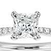 3/4 Carat Preset Princess-Cut Petite Diamond Engagement Ring in 14k White Gold