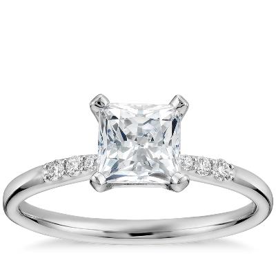 1 Carat Preset PrincessCut Petite Diamond Engagement Ring in 14k