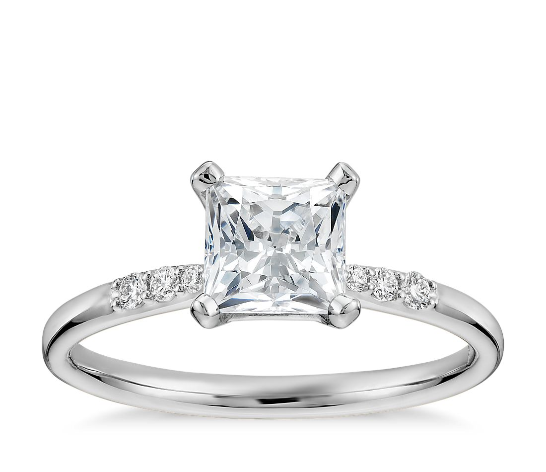1 Carat Preset Princess Cut Petite Diamond Engagement Ring in 14k White Gold