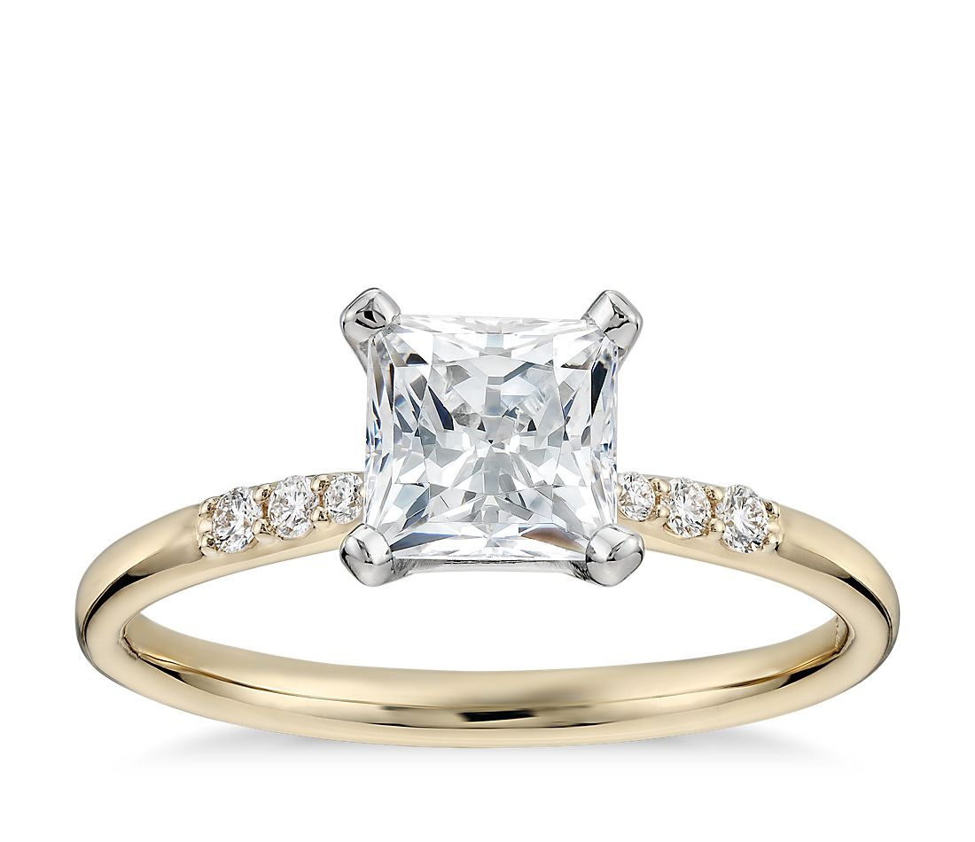 1 Carat Preset Princess Cut Petite Diamond Engagement Ring in 14k Yellow Gold