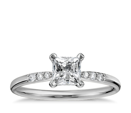 1/2 Carat Ready-to-Ship Princess-Cut Petite Diamond Engagement Ring in 14k White Gold