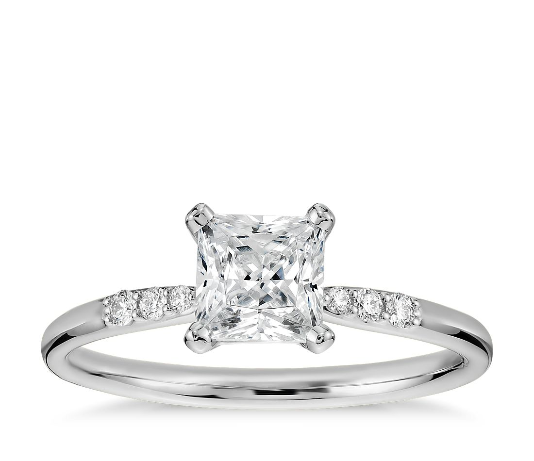 3 4 Carat Ready To Ship Princess Cut Pee Diamond Engagement Ring In 14k White Gold