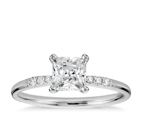 3/4 Carat Ready-to-Ship Princess-Cut Petite Diamond Engagement Ring in 14k White Gold