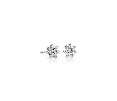 Petite Diamond Floral Stud Earring in 14k White Gold (2/5 ct. tw.)