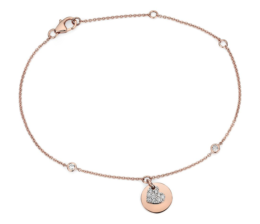 Petite Diamond Heart Tag Bracelet in 14k Rose Gold (1/6 ct. tw.)