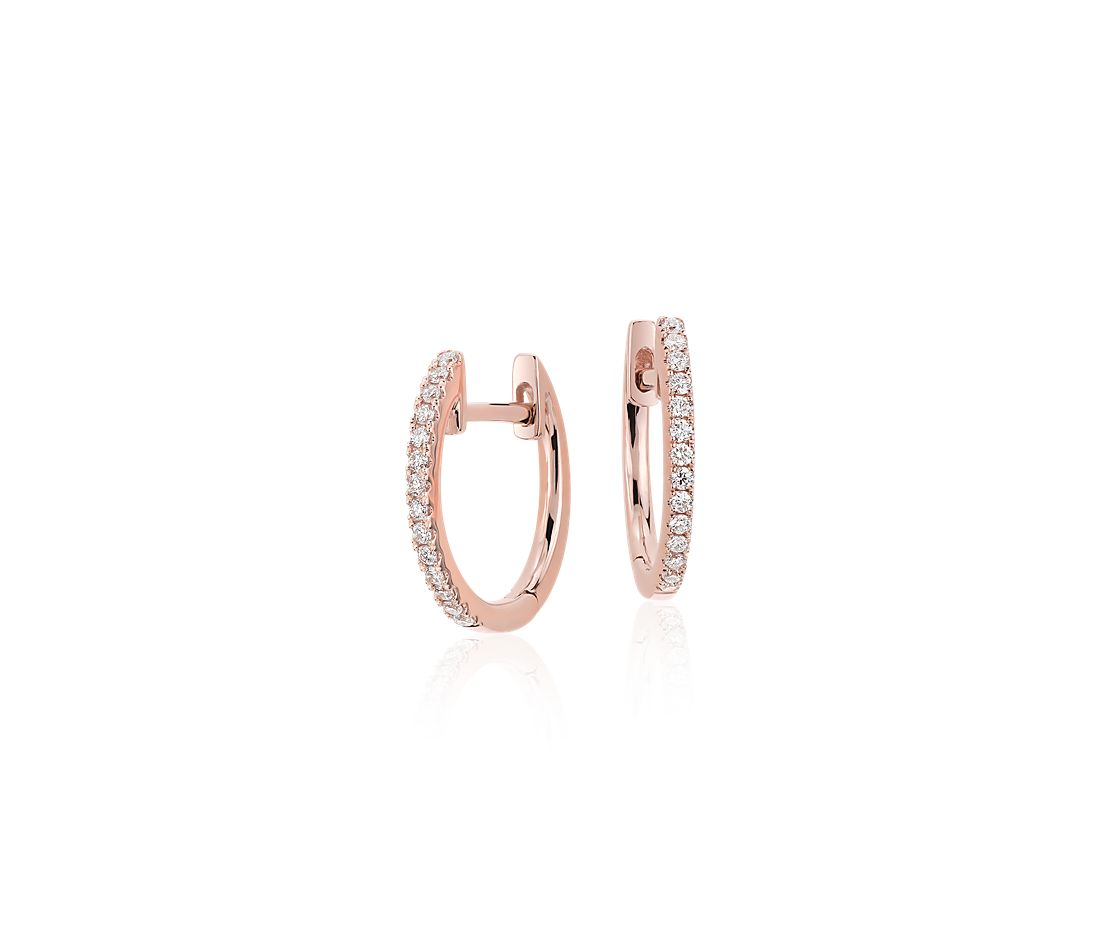Petite Diamond Huggie Hoop Earrings in 14k Rose Gold