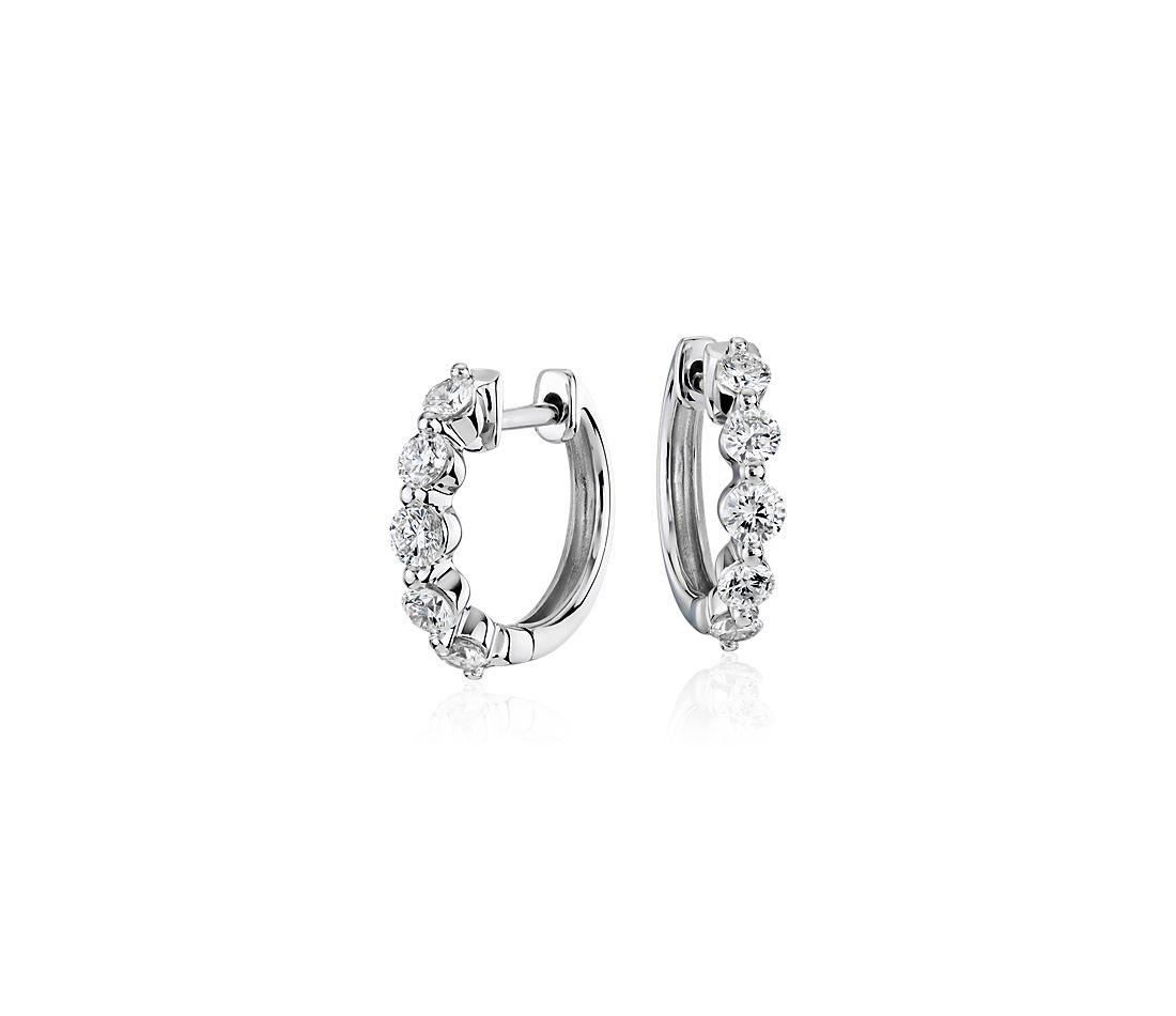 Pee Floating Diamond Huggie Hoop Earrings In 14k White Gold 1 2 Ct Tw