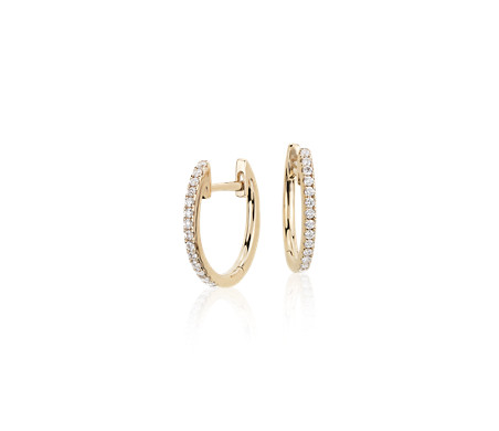 Blue Nile Petite Diamond Milgrain Hoop Earrings in 14k Yellow Gold (1/4 ct. tw.) 30fA8c