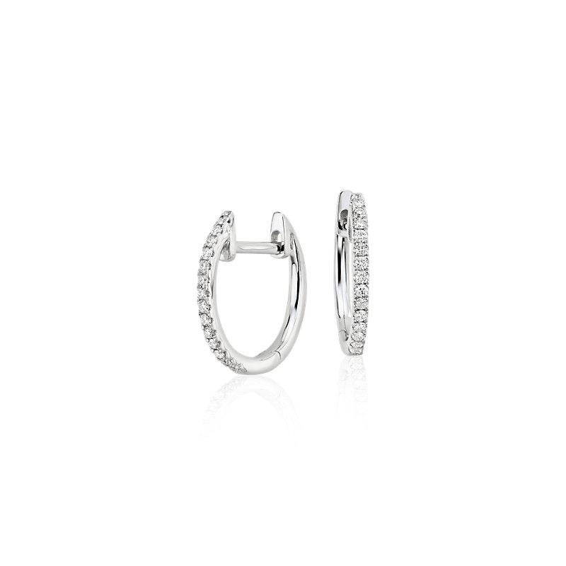 Petite Diamond Huggie Hoop Earrings in 14k White Gold (1/10 ct. t