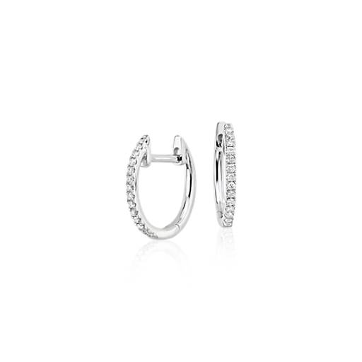 Blue Nile Mini Diamond Wave Earrings in 14k White Gold (1/10 ct. tw.) d9Q6HMJ