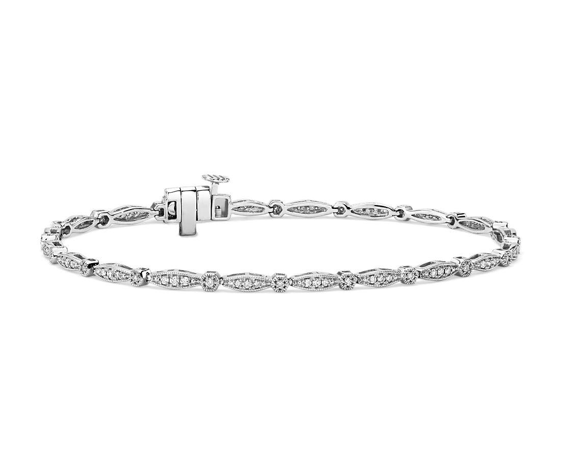 Petite Diamond Milgrain Bracelet in 14k White gold (1ct. tw.)