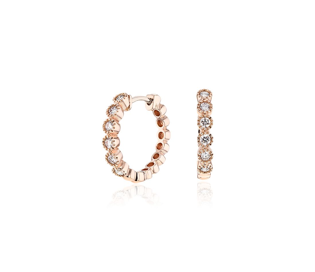 Petite Diamond Milgrain Hoop Earrings in 14k Rose Gold