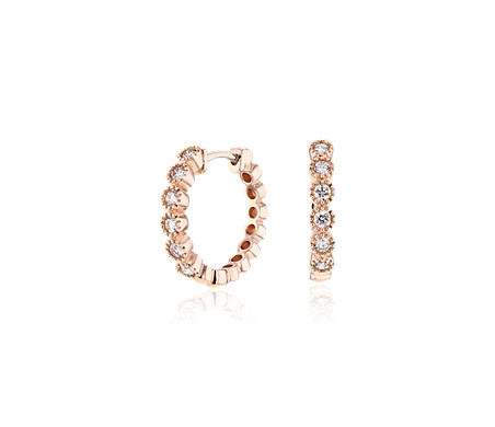 Petite Diamond Milgrain Hoop Earrings in 14k Rose Gold (1/4 ct. tw.)