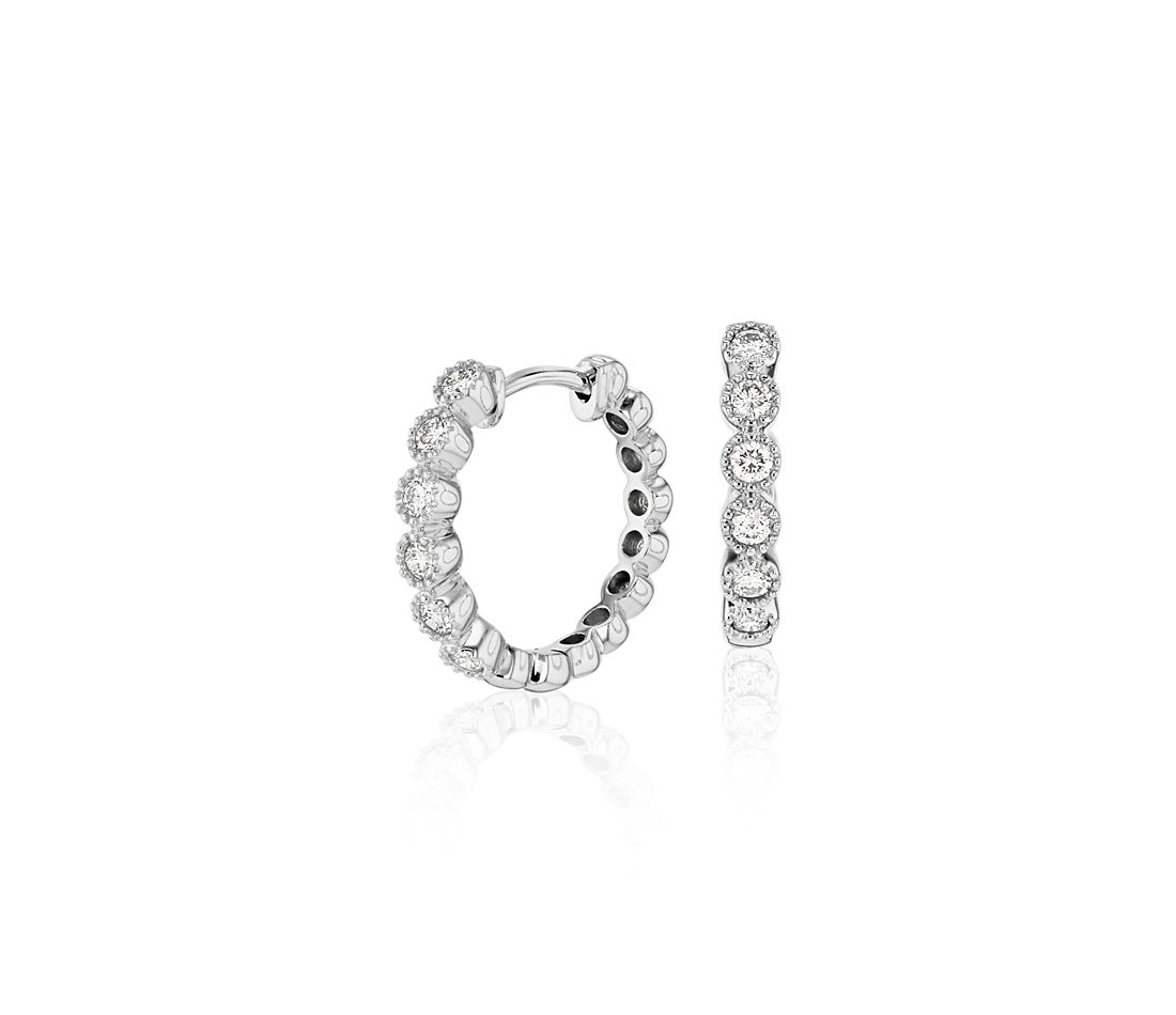 Petite Diamond Milgrain Hoop Earrings in 14k White Gold