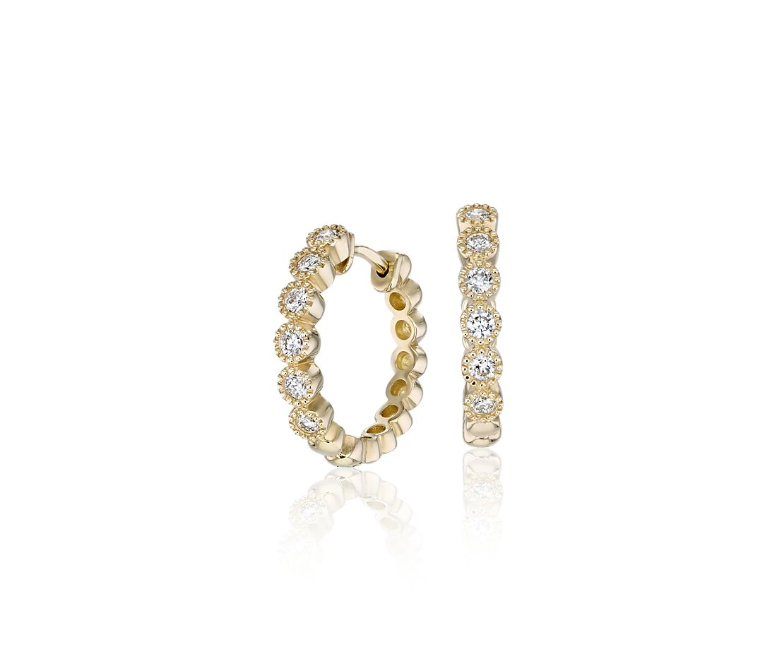 Petite Diamond Milgrain Hoop Earrings in 14k Yellow Gold