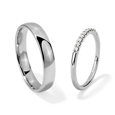 Petite Diamond Ring and Modified High Domed Comfort Fit Set in 14k White Gold