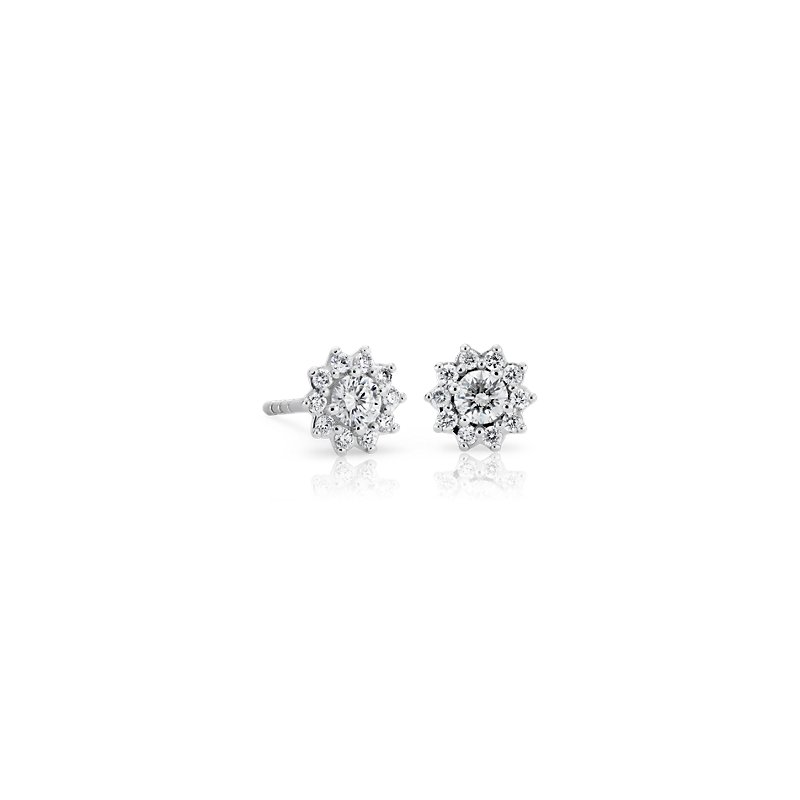 Petite Diamond Starburst Stud Earrings in 14k White Gold (1/3 ct.