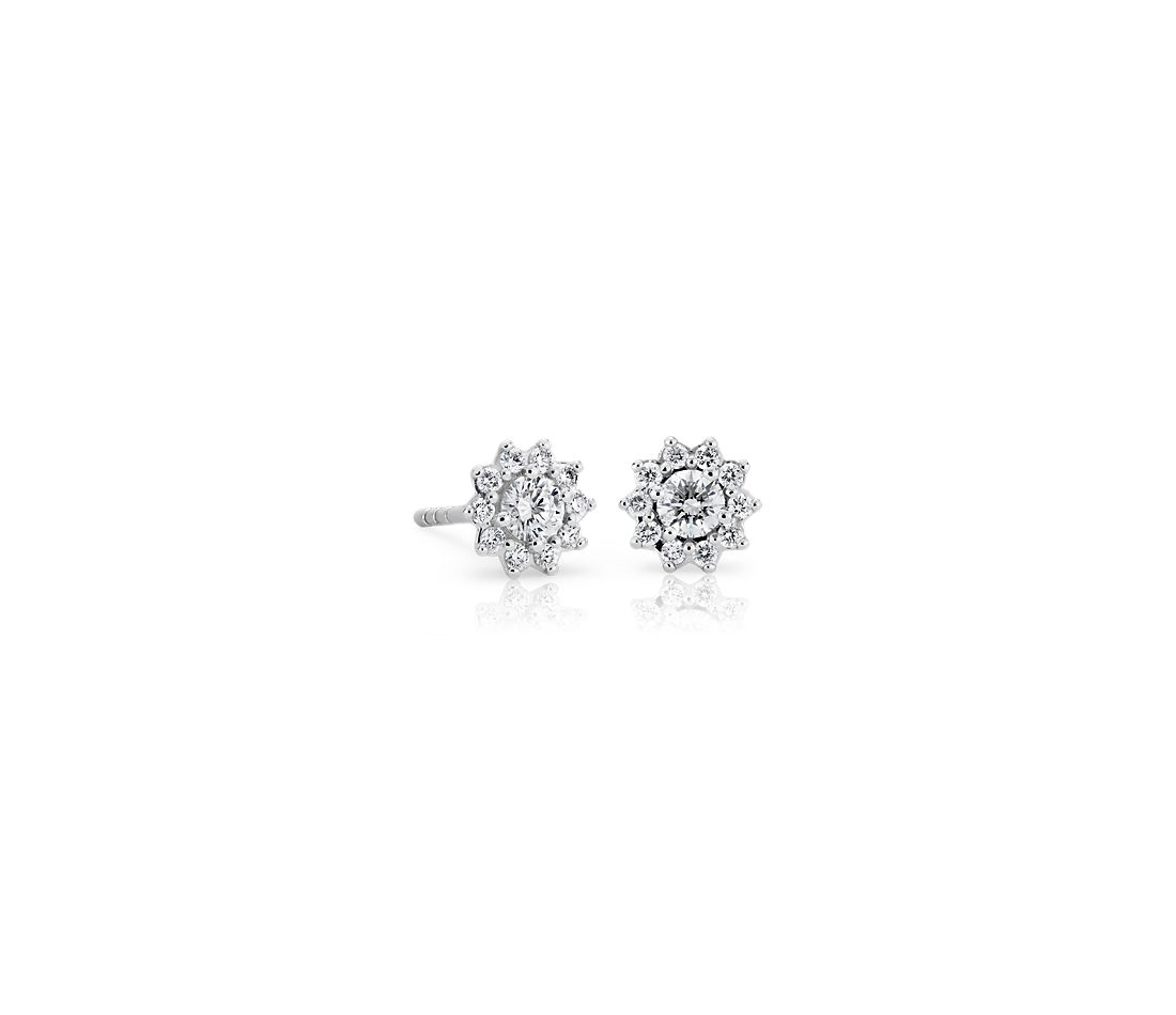 Petite Diamond Starburst Stud Earrings in 14k White Gold (0.28 ct. tw.)