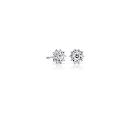 Petite Diamond Starburst Stud Earrings in 14k White Gold (1/3 ct. tw.)