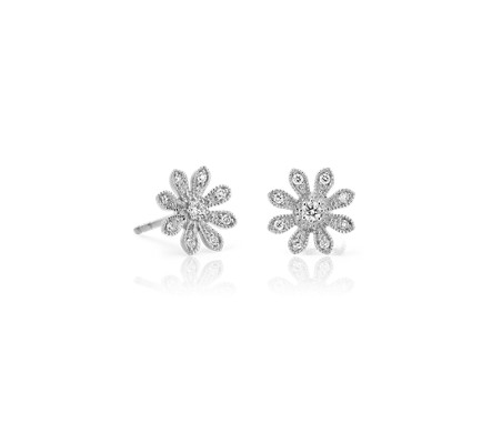 Blue Nile Petite Diamond Floral Stud Earrings in 14k White Gold (1/4 ct. tw.)