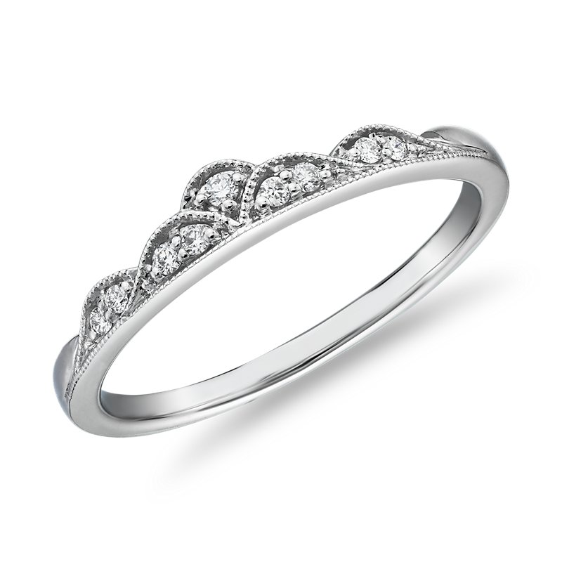 Petite Diamond Tiara Milgrain Fashion Ring in 14k White Gold