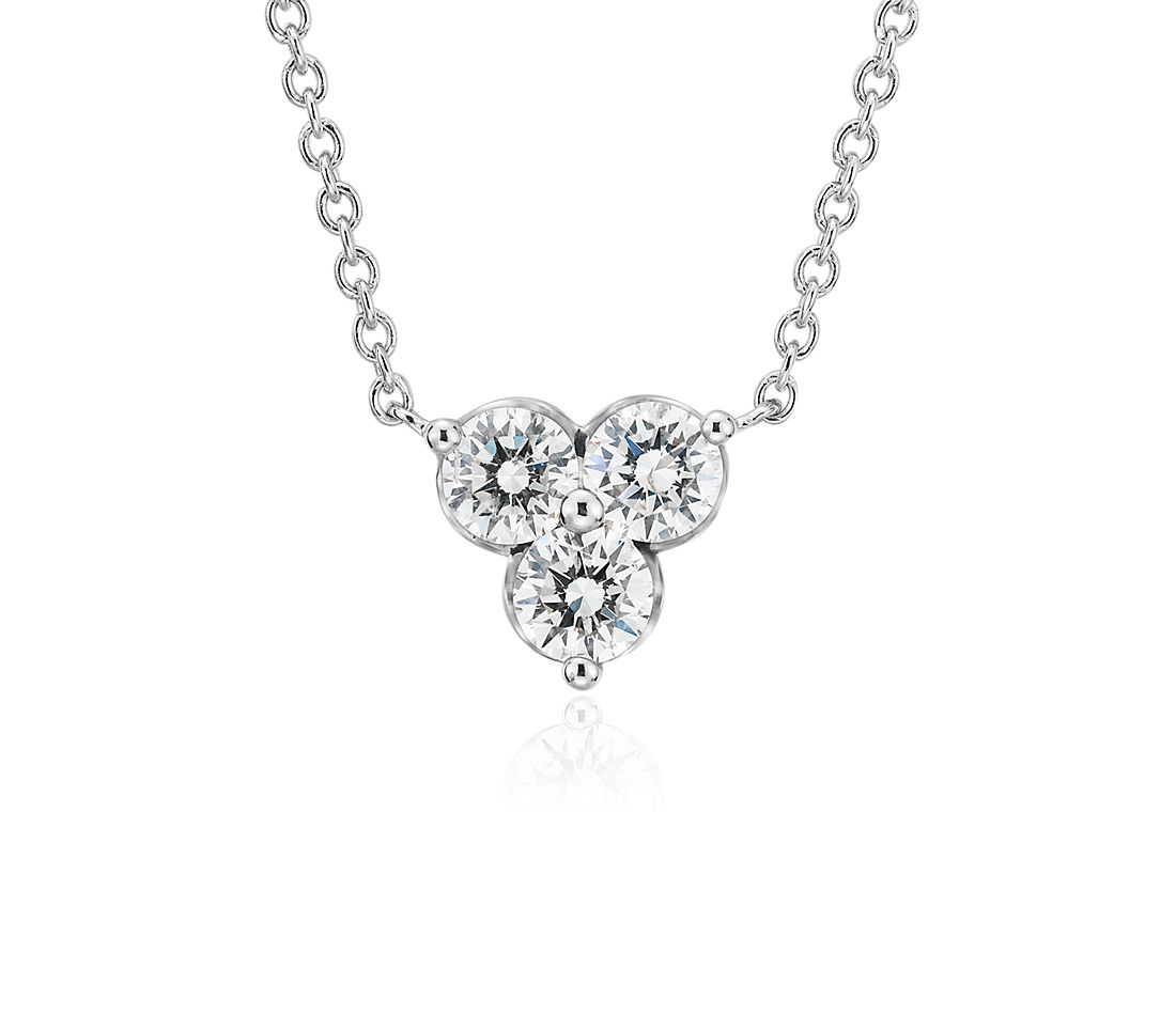 Petite Diamond Trio Cluster Pendant in 14k White Gold