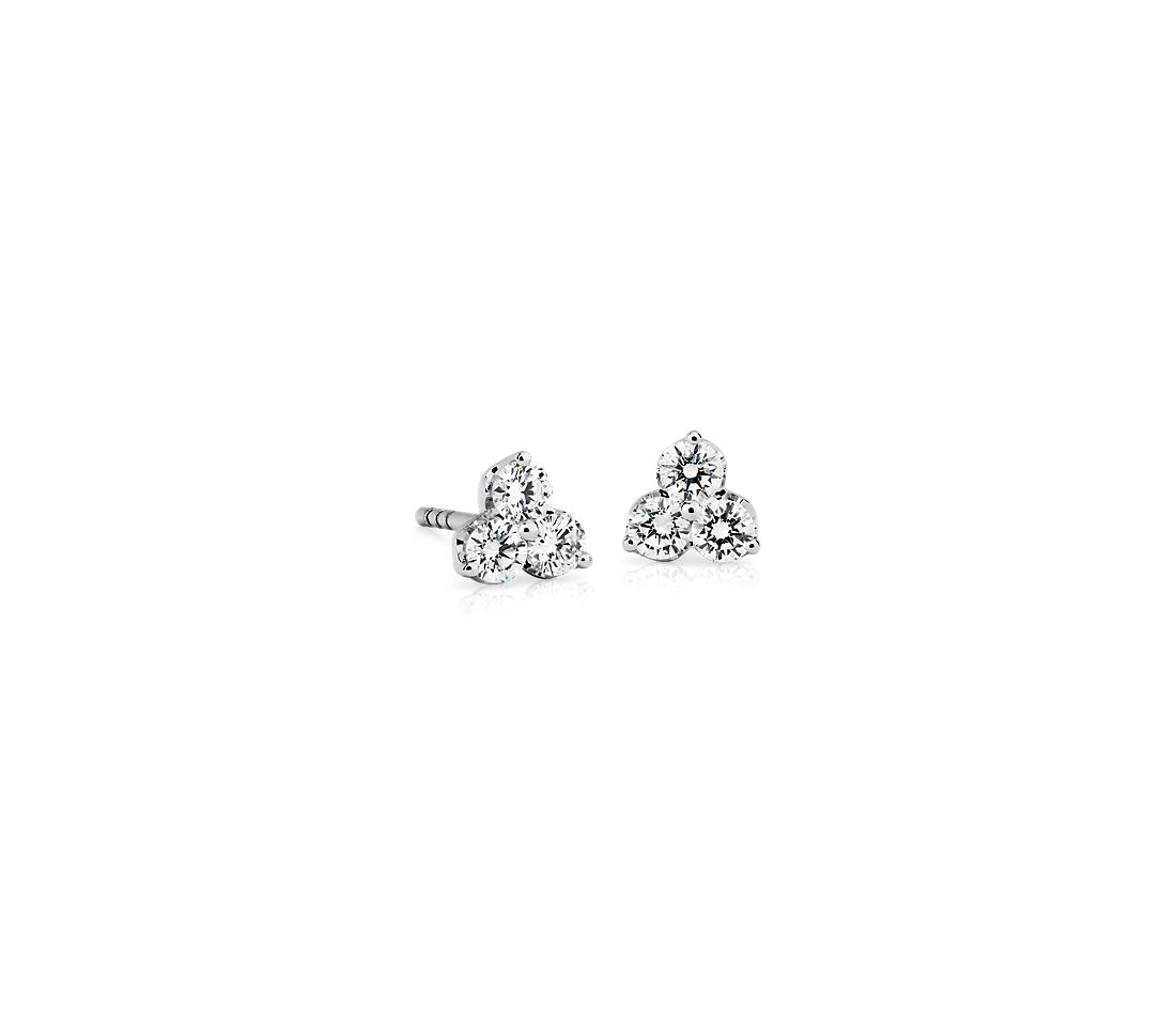Petite Diamond Trio Cluster Stud Earrings in 14k White Gold