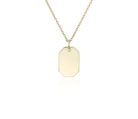 Petite Dog Tag Necklace in 14k Yellow Gold