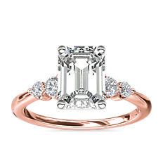 14k 玫瑰金小巧双重辅石钻石订婚戒指(1/6 克拉总重量)