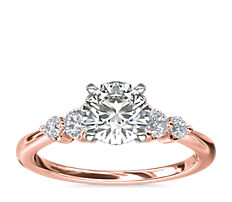 Petite Double Sidestone Diamond Engagement Ring in 14k Rose Gold (1/6 ct. tw.)