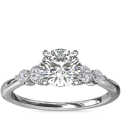 NEW Petite Double Sidestone Diamond Engagement Ring in 14k White Gold (1/6 ct. tw.)