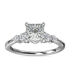 Petite Double Sidestone Diamond Engagement Ring in 14k White Gold (1/6 ct. tw.)