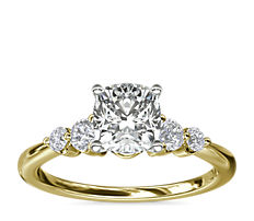 Petite Double Sidestone Diamond Engagement Ring in 14k Yellow Gold (1/6 ct. tw.)