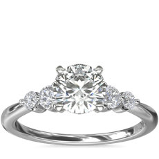 Petite Double Sidestone Diamond Engagement Ring in Platinum (1/6 ct. tw.)