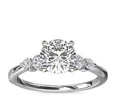 Petite Double Sidestone Diamond Engagement Ring in Platinum (1/6 ct. tw.)