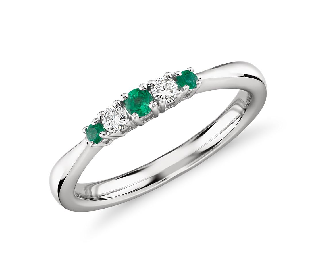 Petite Emerald and Diamond Ring in 14k White Gold