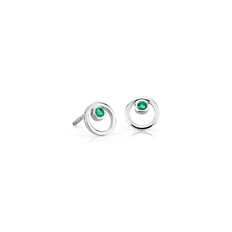 Petite Open Circle Emerald Birthstone Earrings in 14k White Gold (2mm)